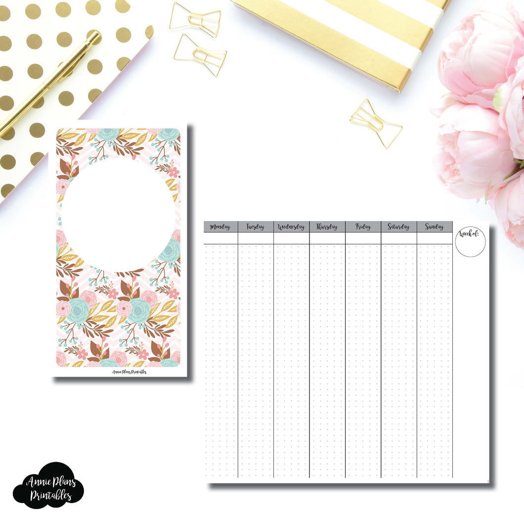 Personal TN Size | Vertical Week on 2 Pages Printable Insert for Travelers Notebooks ©