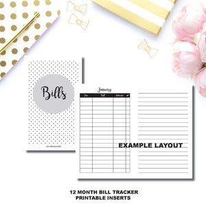 Pocket TN Size | Bill Tracker Printable Insert ©