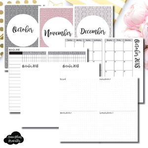 Cahier TN Size | OCT - DEC 2018 | Week on 4 Pages (Monday Start) Horizontal Layout | Printable Insert ©