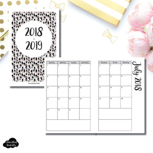 A6 Rings Size | 2018 - 2019 Academic Monthly Calendar (SUNDAY Start) PRINTABLE INSERT ©