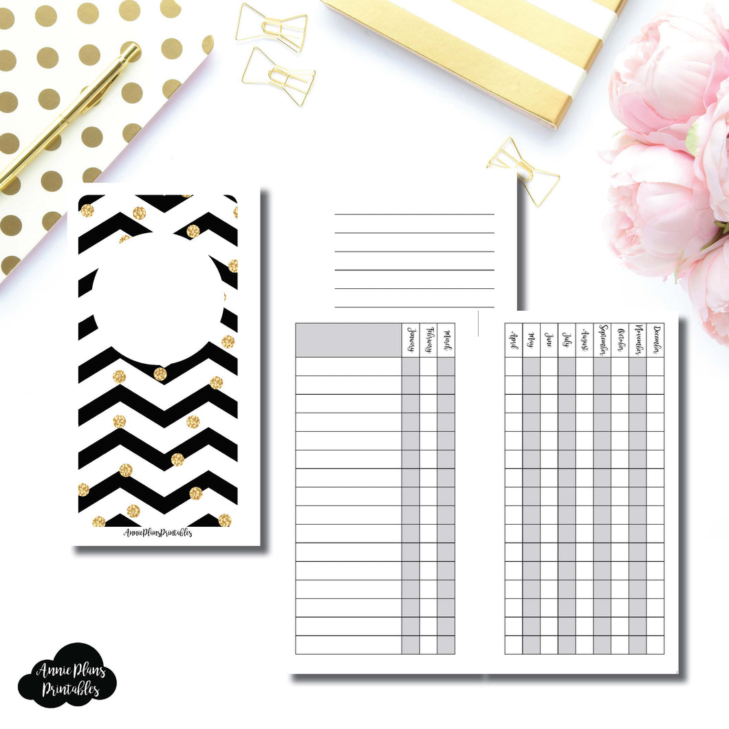 Personal Rings Size | 12 Month Checklist Tracker Printable Insert ©