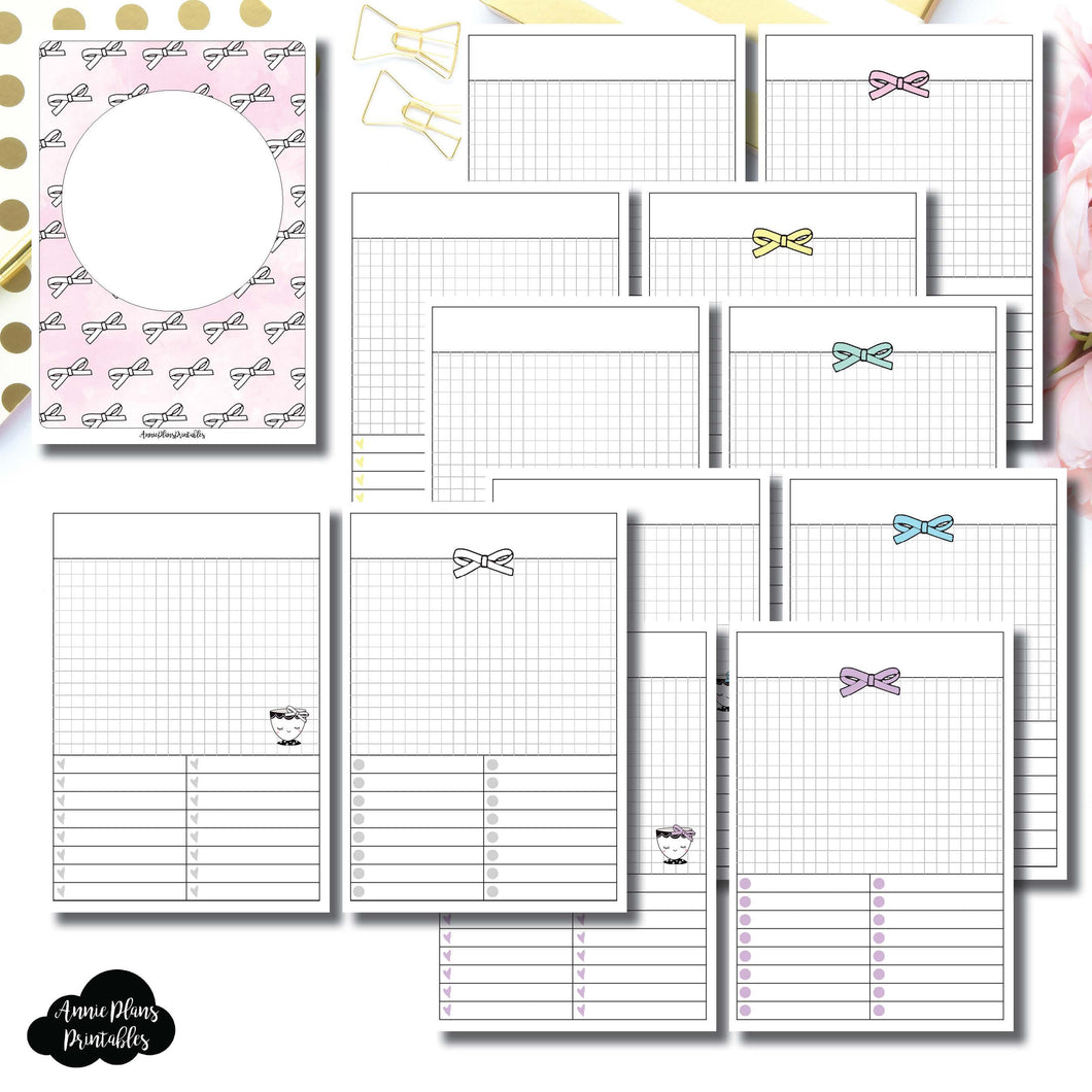 B6 TN Size | Undated Day on a Page or Project HappieScrappie Collaboration Printable Insert ©