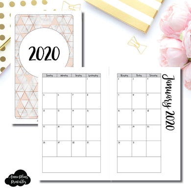 FC Rings Size | 2020 Monthly Calendar (SUNDAY Start) PRINTABLE INSERT ©