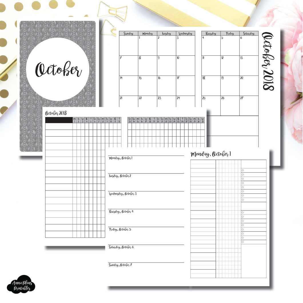 Half Letter Rings Size | OCT 2018 | Month/Weekly/Daily 3 Column UNTIMED (Monday Start) Printable Insert ©