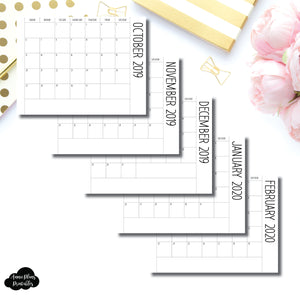 Personal Rings Size | 2020 (SIMPLE FONT) Single Fold Over Monthly Calendar Printable Insert ©