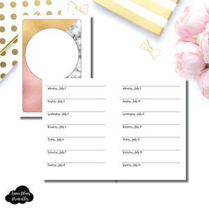 A6 Rings Size  | July - December 2018 Week on 1 Page Layout (Monday Start) Printable Insert ©