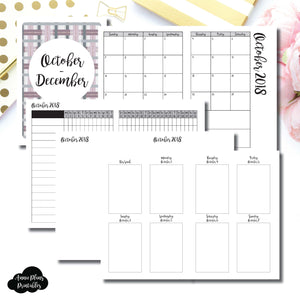 A6 TN Size | OCT - DEC 2018 | Vertical Week on 2 Page (Monday Start) Printable Insert ©