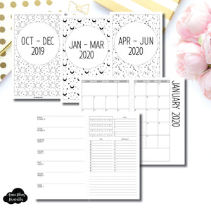 Cahier TN Size | OCT 2019 - JUNE 2020 | Week on 1 Page (Monday Week Start) With Trackers + Lists Printable Insert ©