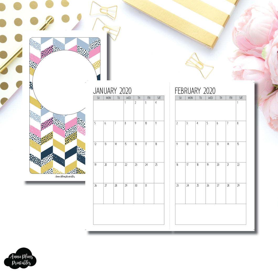 Personal TN Size | SIMPLE FONT 24 Month (JAN 2020 - DEC 2021) SINGLE PAGE Monthly Printable Insert ©