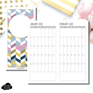 HWeeks Wide Size | SIMPLE FONT 24 Month (JAN 2020 - DEC 2021) SINGLE PAGE Monthly Printable Insert ©