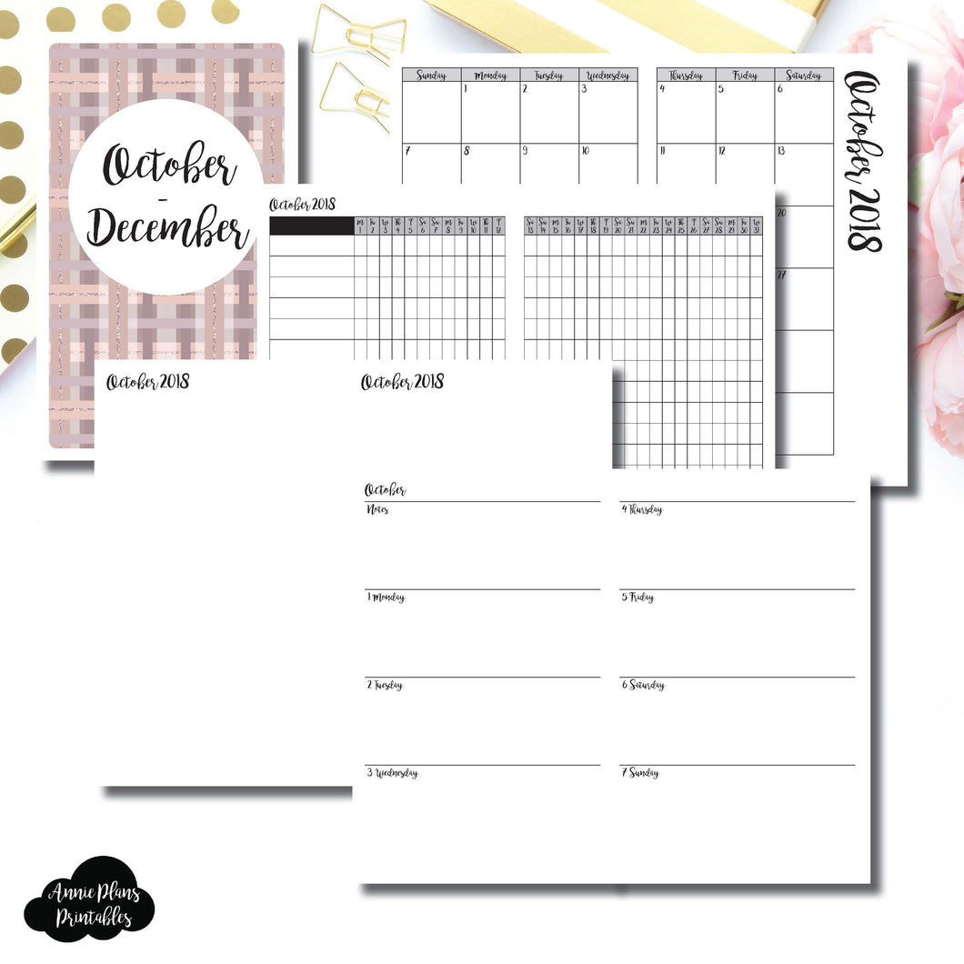 Cahier TN Size | OCT - DEC 2018 | Horizontal Week on 2 Page (Monday Start) Printable Insert ©