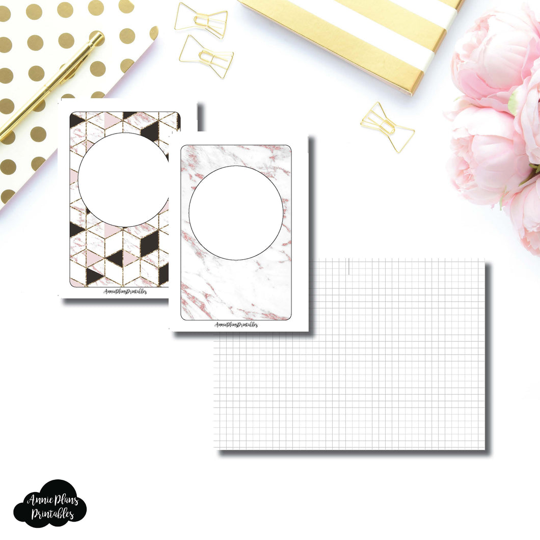 A6 Rings Size | Plain GRID Printable Inserts ©