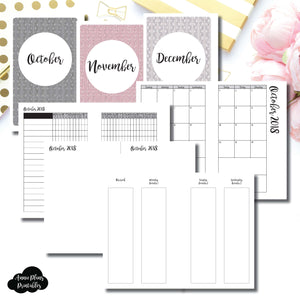 Mini HP Size | OCT - DEC 2018 | Week on 4 Pages (Monday Start) Vertical Layout | Printable Insert ©