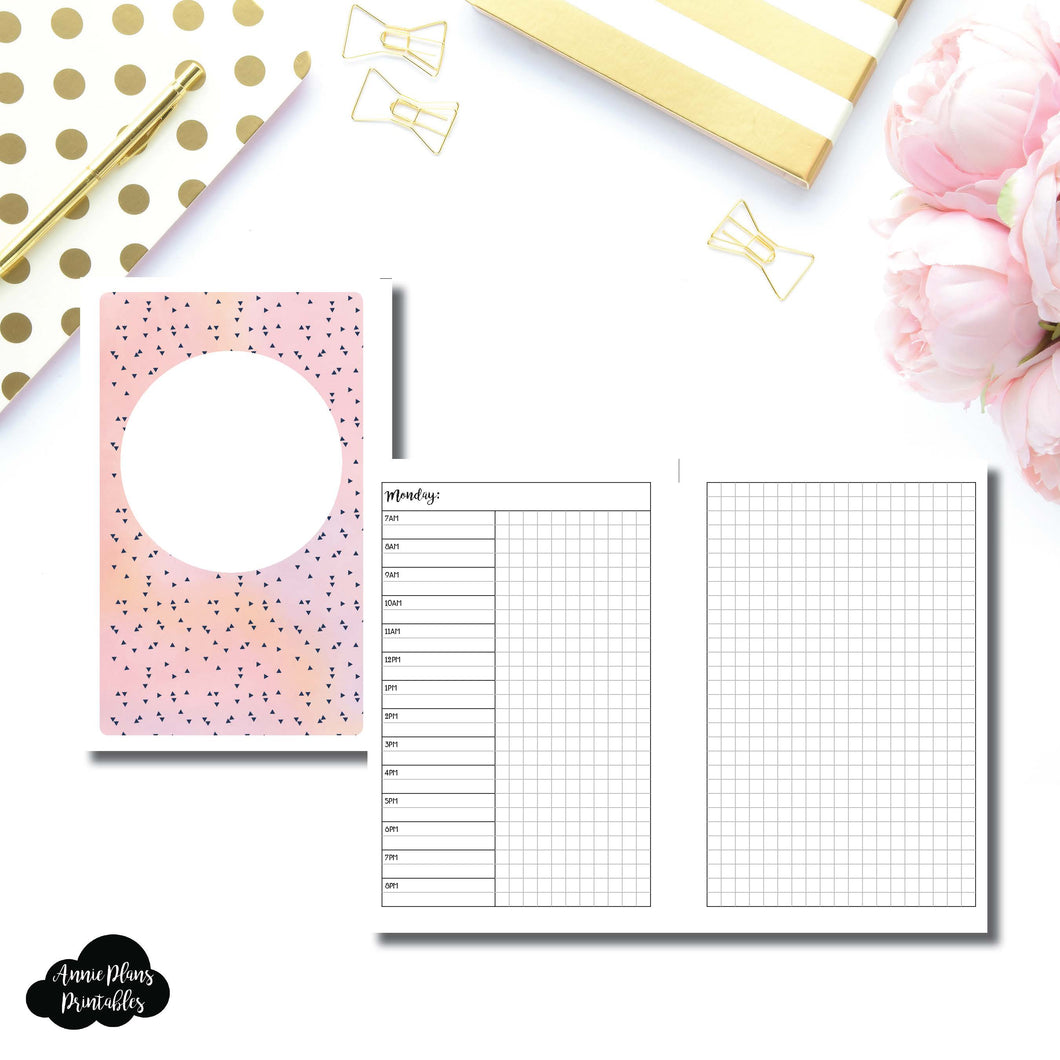 Half Letter Page Rings Size | UNDATED Day on 2 Pages Printable Insert ©