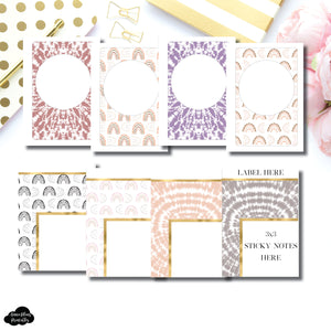 Pocket Plus Rings Size | Boho Rainbow Covers + Sticky Note Dashboards Printable