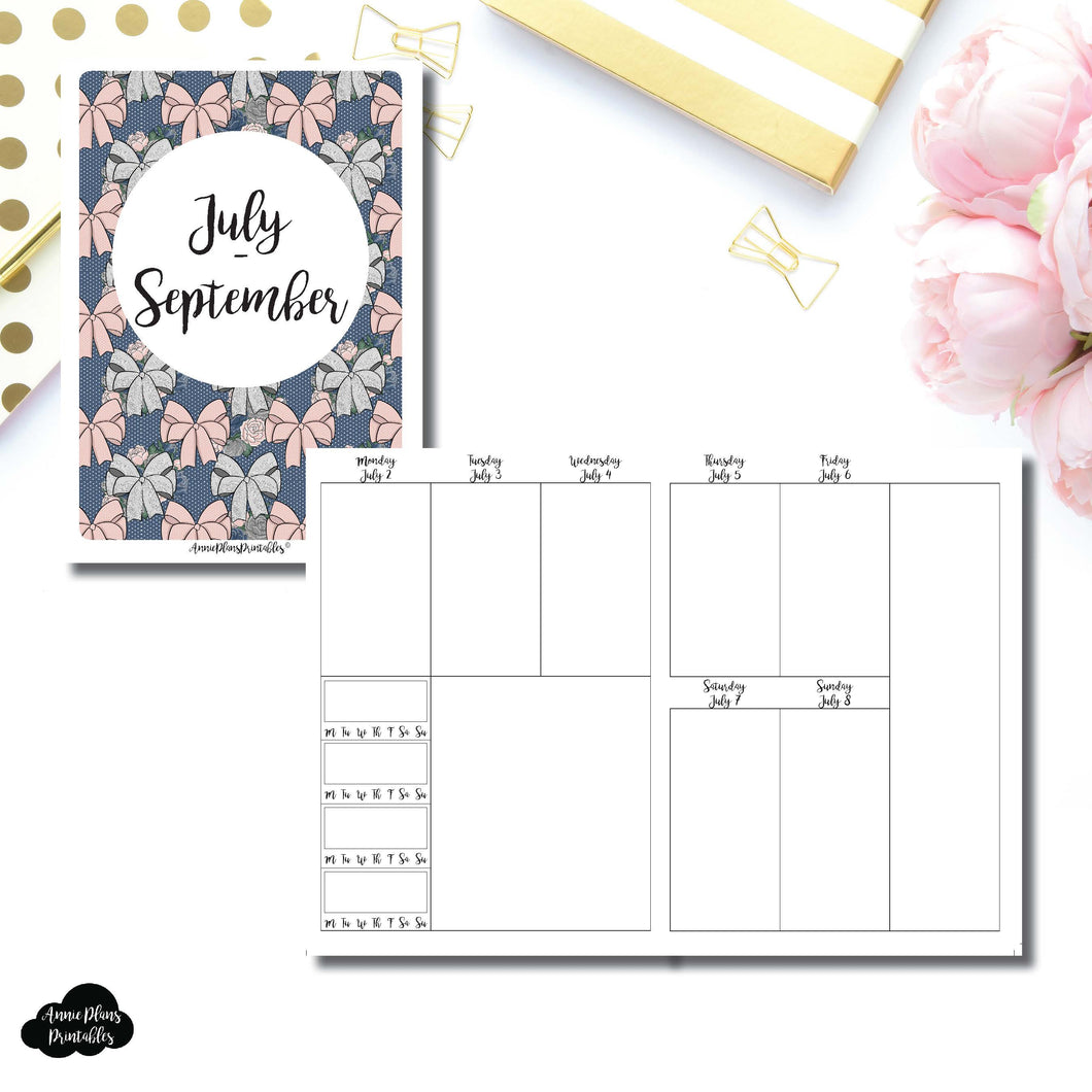 Cahier TN Size | JULY - SEPT 2018 | Vertical Week on 2 Page (Monday Start) With Trackers Printable Insert for Travelers Notebooks ©