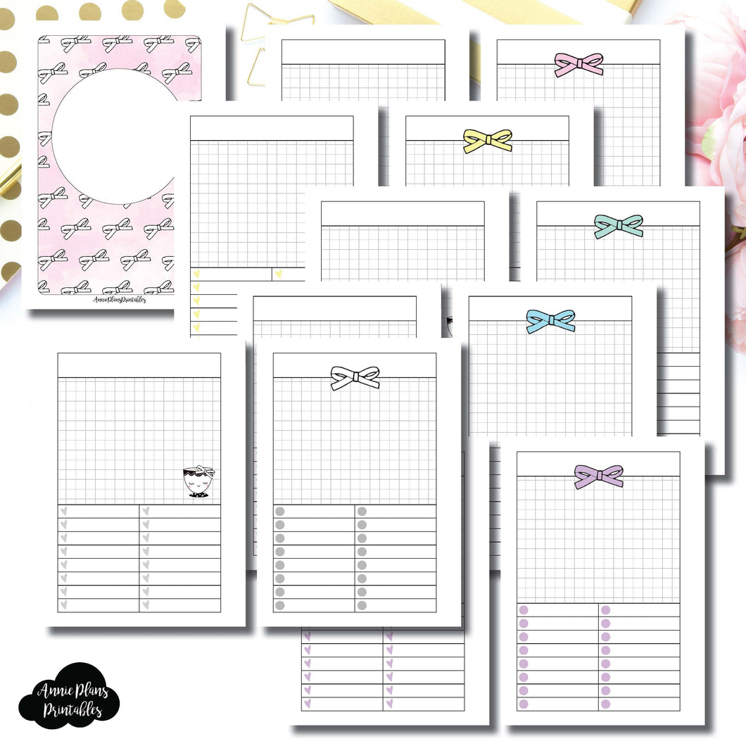 A6 Rings Size | Undated Day on a Page or Project HappieScrappie Collaboration Printable Insert ©