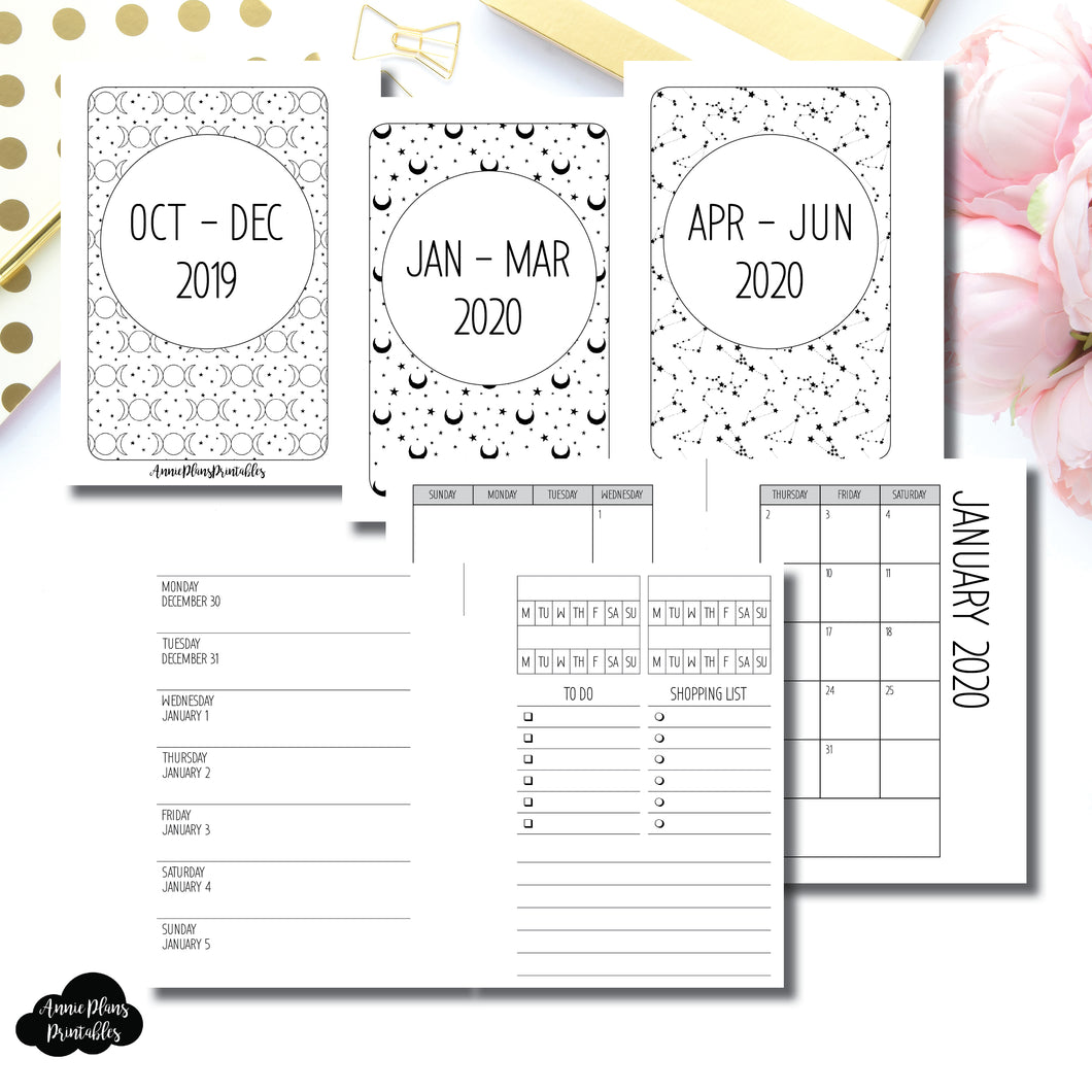 Micro HP Size | OCT 2019 - JUNE 2020 | Week on 1 Page (Monday Week Start) With Trackers + Lists Printable Insert ©