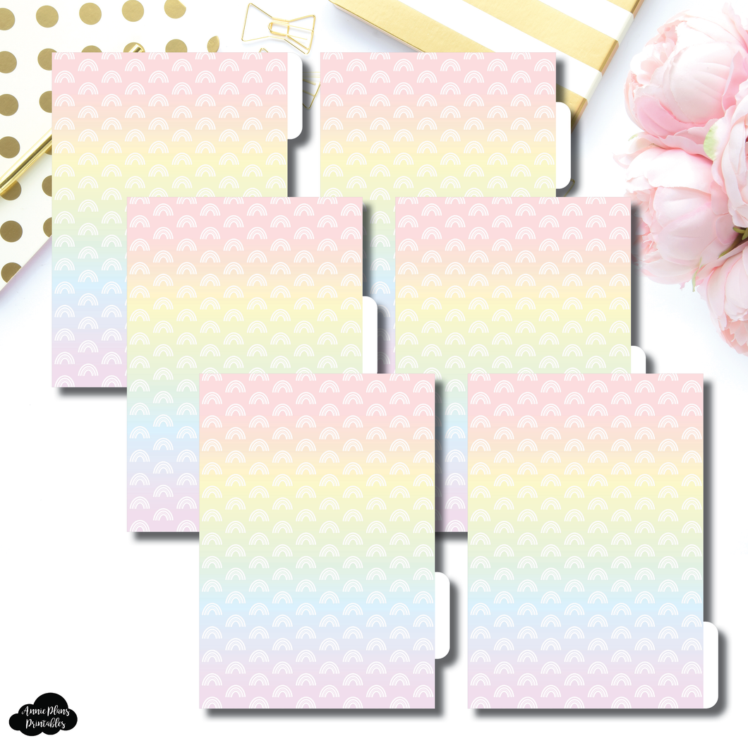 B6 Ring Dividers | Rainbow Gradient 6 Side Tab Printable Dividers