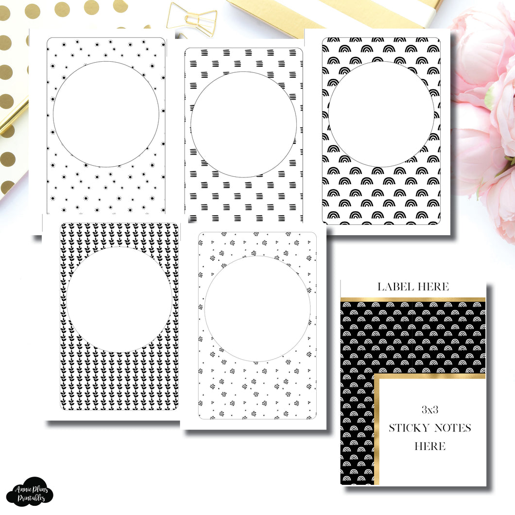 A6 Rings Size | Minimalist Blank Covers + Sticky Note Dashboard Printable