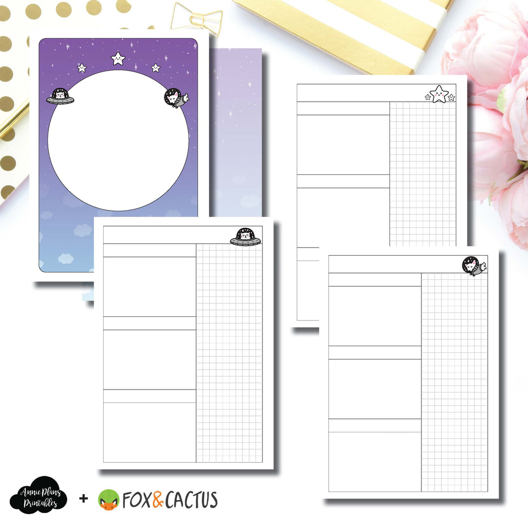 A6 TN Size | Fox & Cactus Collaboration Undated Daily Printable Insert ©