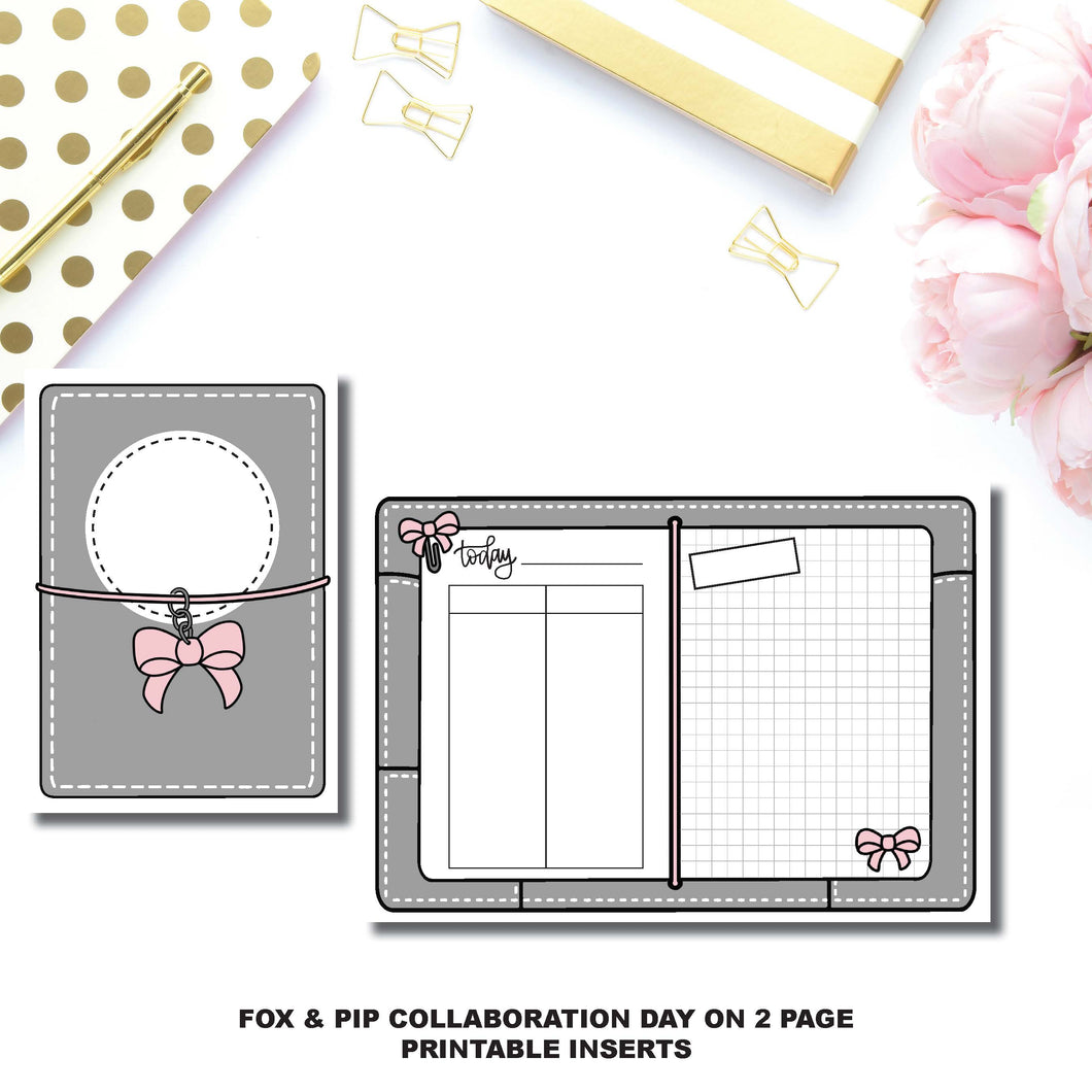 B6 TN Size | Day on 2 Page Fox & Pip Collaboration Printable Insert ©