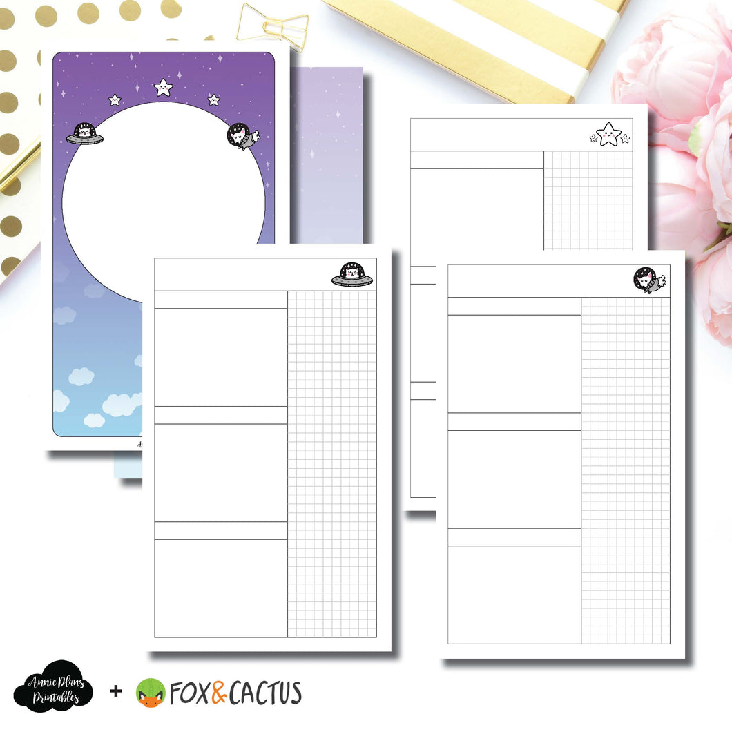B6 SLIM TN Size | Fox & Cactus Collaboration Undated Daily Printable Insert ©