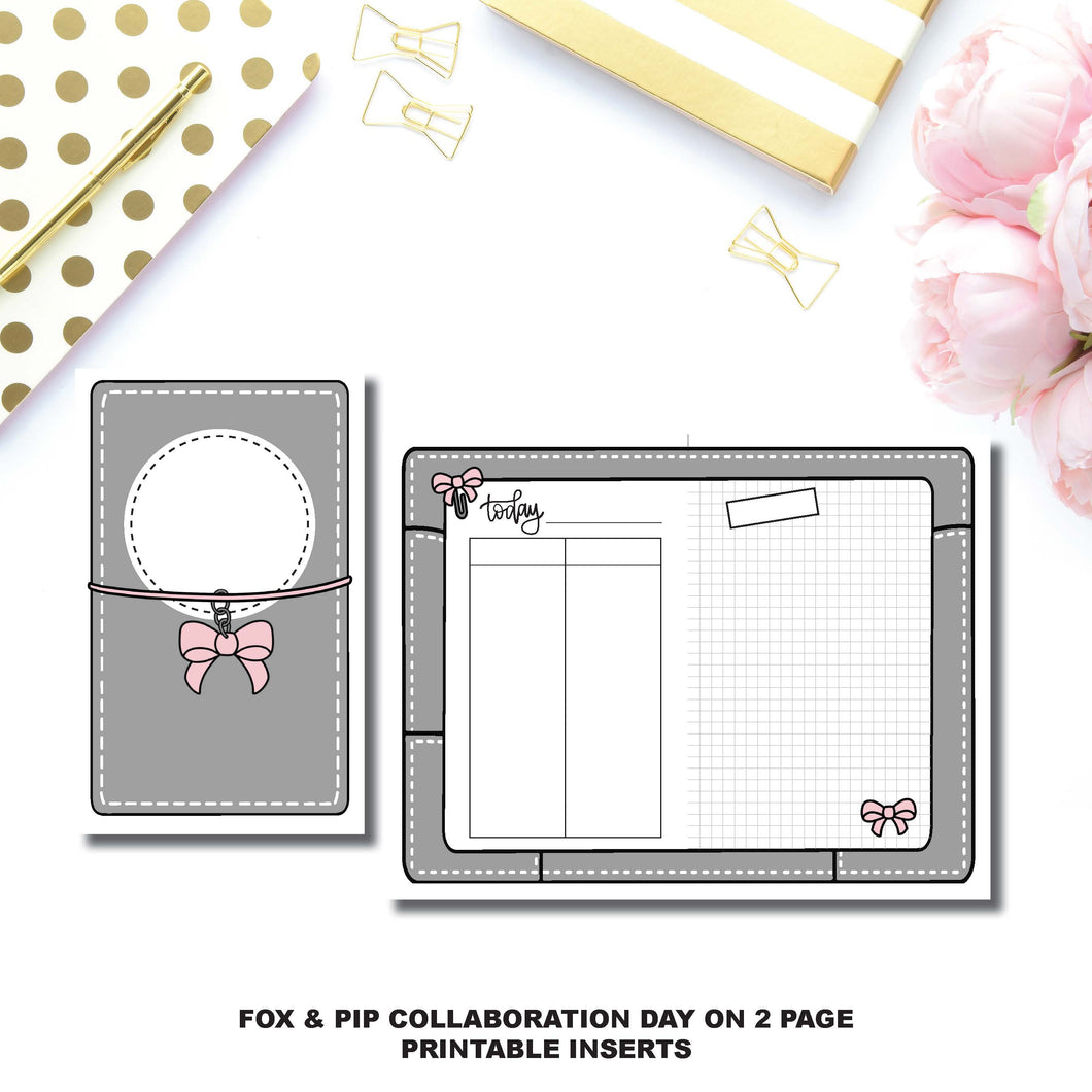 Half Letter Rings Size | Day on 2 Page Fox & Pip Collaboration Printable Insert ©