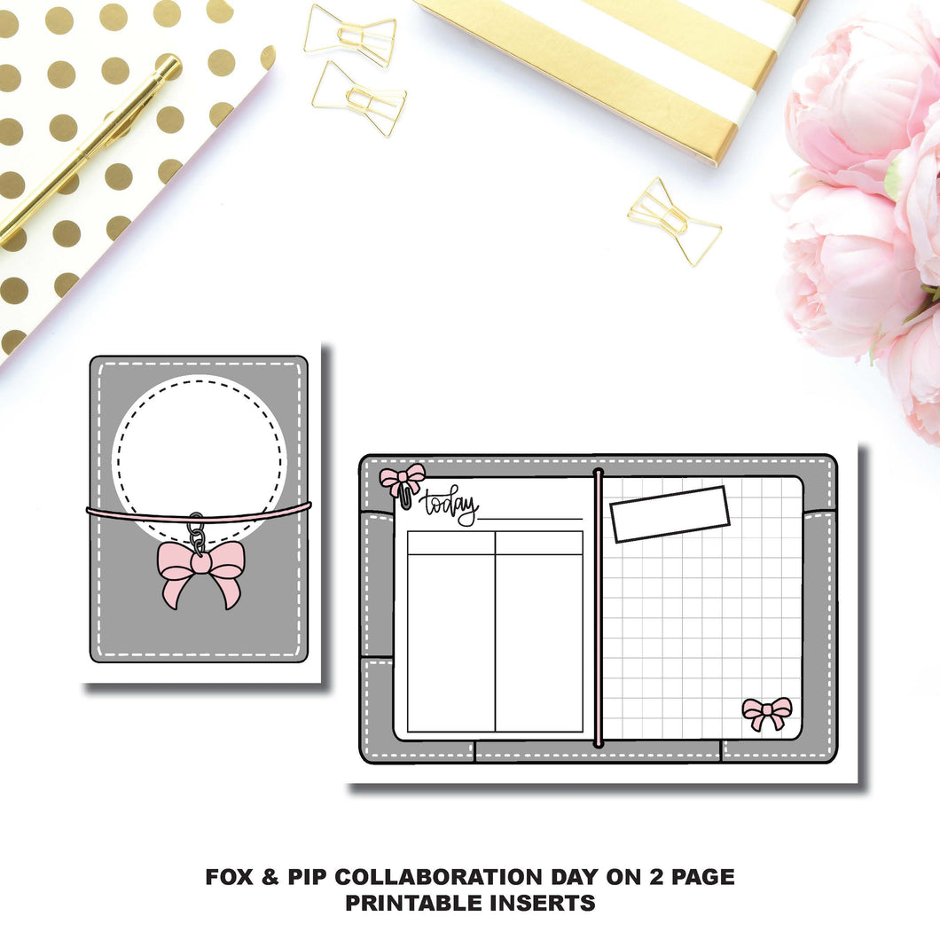 Micro TN Size | Day on 2 Page Fox & Pip Collaboration Printable Insert ©