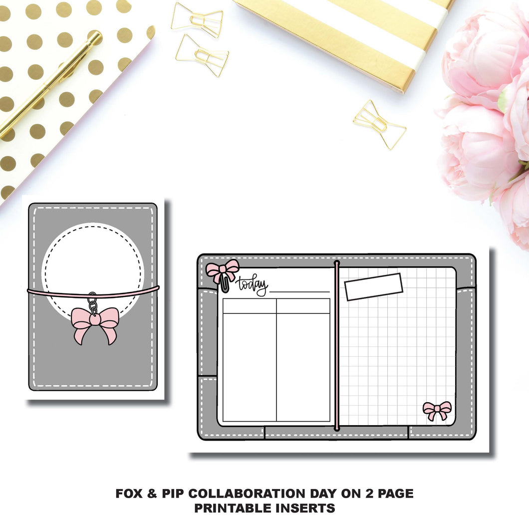 Passport TN Size | Day on 2 Page Fox & Pip Collaboration Printable Insert ©