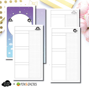 Personal TN Size | Fox & Cactus Collaboration Undated Daily Printable Insert ©
