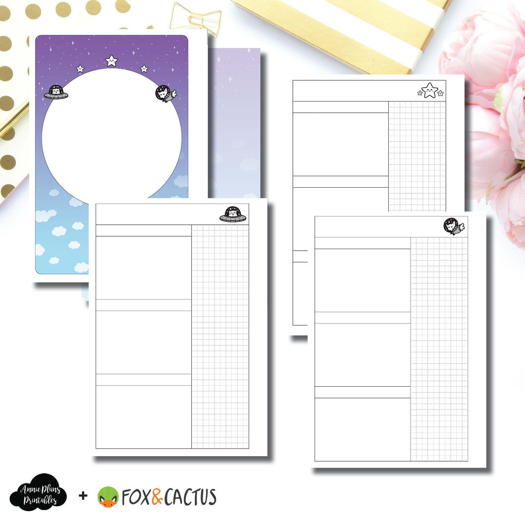 Personal Wide Rings Size | Fox & Cactus Collaboration Undated Daily Printable Insert ©