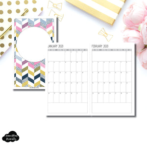 Cahier TN Size | SIMPLE FONT 24 Month (JAN 2020 - DEC 2021) SINGLE PAGE Monthly Printable Insert ©