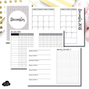A6 Rings Size | DEC 2018 | Month/Weekly/Daily GRID (Monday Start) Printable Insert ©