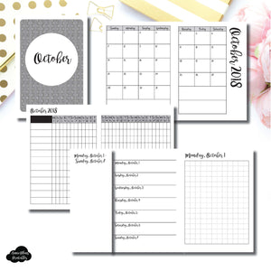 Passport TN Size | OCT 2018 | Month/Weekly/Daily GRID (Monday Start) Printable Insert ©