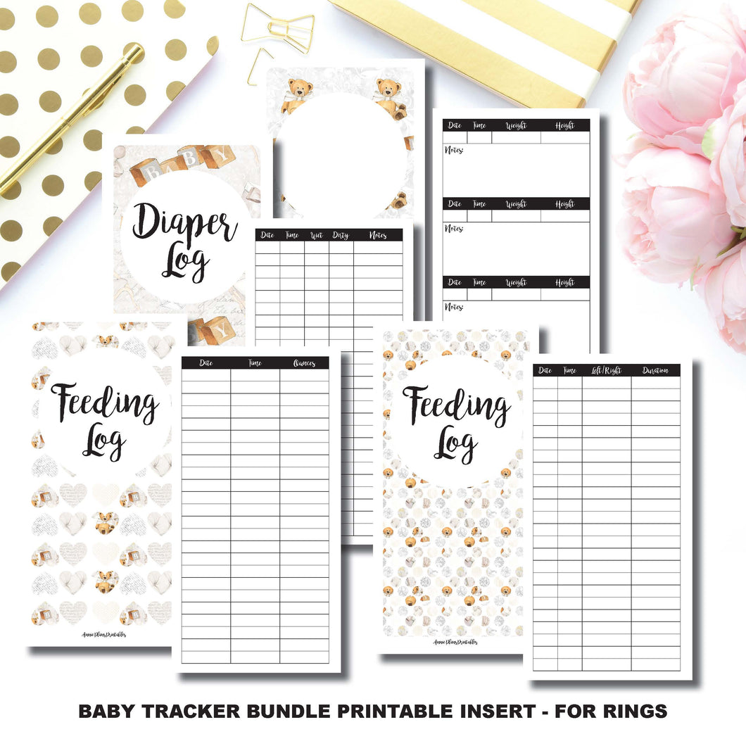Personal Wide Rings Size | Baby Tracker Bundle | Printable Insert ©