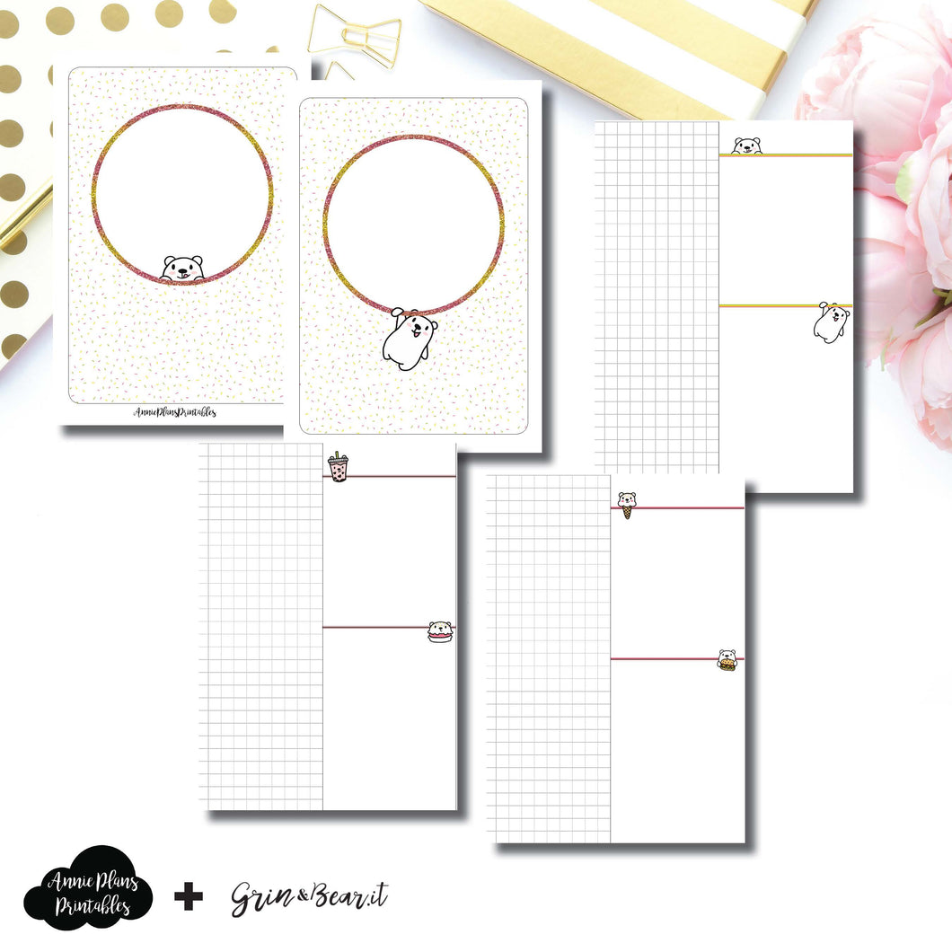 A6 TN Size | Grin & Bear It Collaboration Grid Column Printable Insert ©