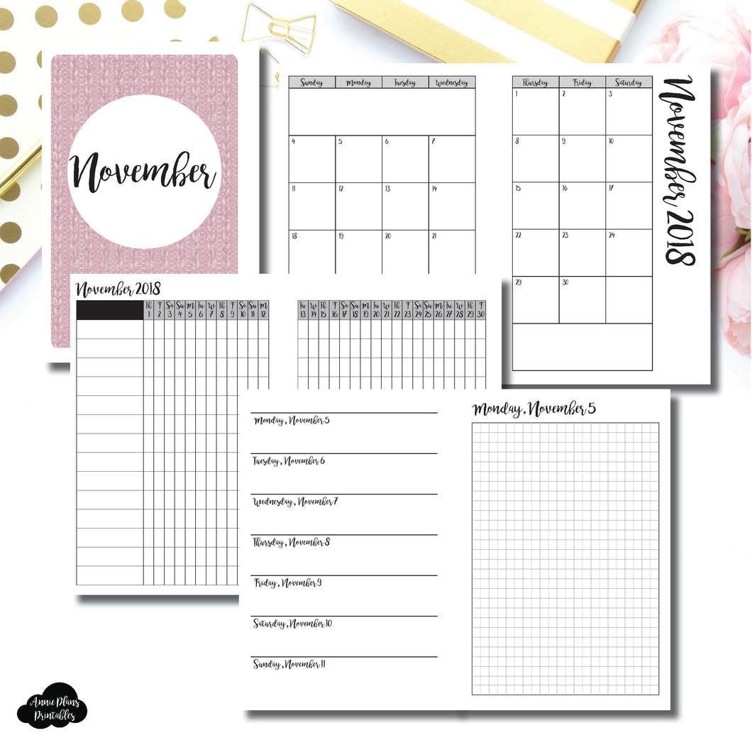A6 Rings Size | NOV 2018 | Month/Weekly/Daily GRID (Monday Start) Printable Insert ©
