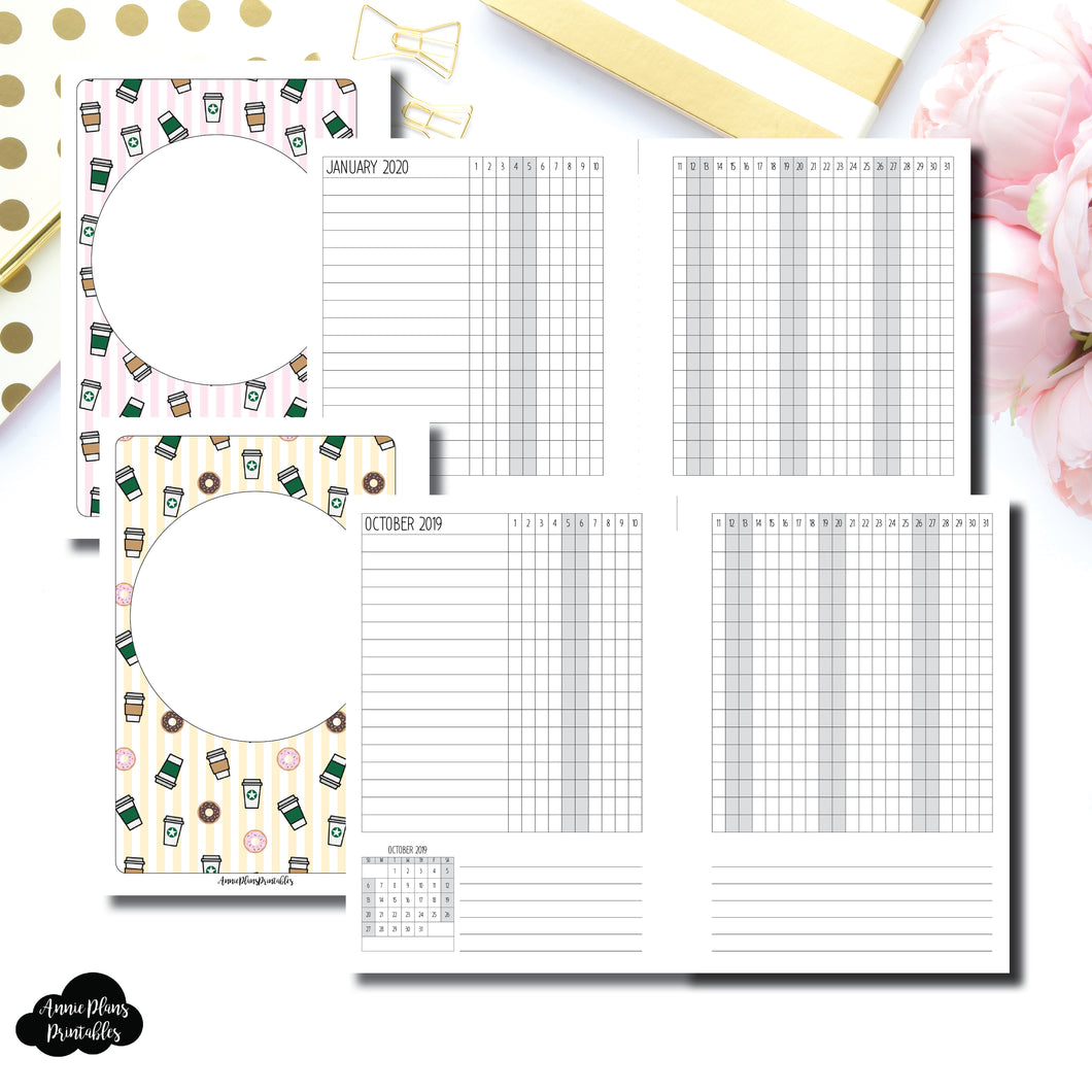 Half Letter Rings Size | OCT 2019 - DEC 2020 Dated Tracker Printable Insert ©