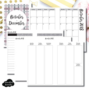 Half Letter Rings Size | OCT - DEC 2018 | Vertical Week on 2 Page (Monday Start) Printable Insert ©