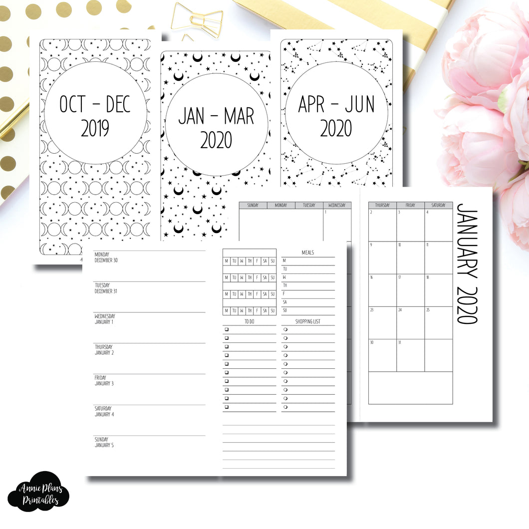 Personal TN Size | OCT 2019 - JUNE 2020 | Week on 1 Page (Monday Week Start) With Trackers + Lists Printable Insert ©