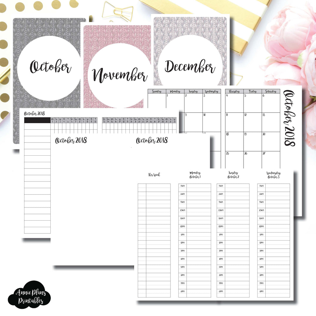 Cahier TN Size | OCT - DEC 2018 | Week on 4 Pages (Monday Start) TIMED Vertical Layout | Printable Insert ©