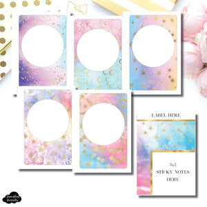 B6 Rings Size | Rainbow Galaxy Blank Covers + Sticky Note Dashboard Printable
