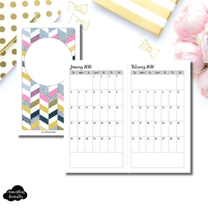 Personal TN Size | 24 Month (JAN 2020 - DEC 2021) SINGLE PAGE Monthly Printable Insert ©