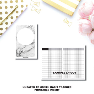 A6 TN Size | Undated 12 Month Habit Tracker Printable Insert ©