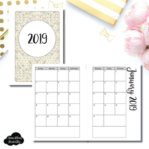 A6 Rings Size | 2019 Monthly Calendar (SUNDAY Start) PRINTABLE INSERT ©