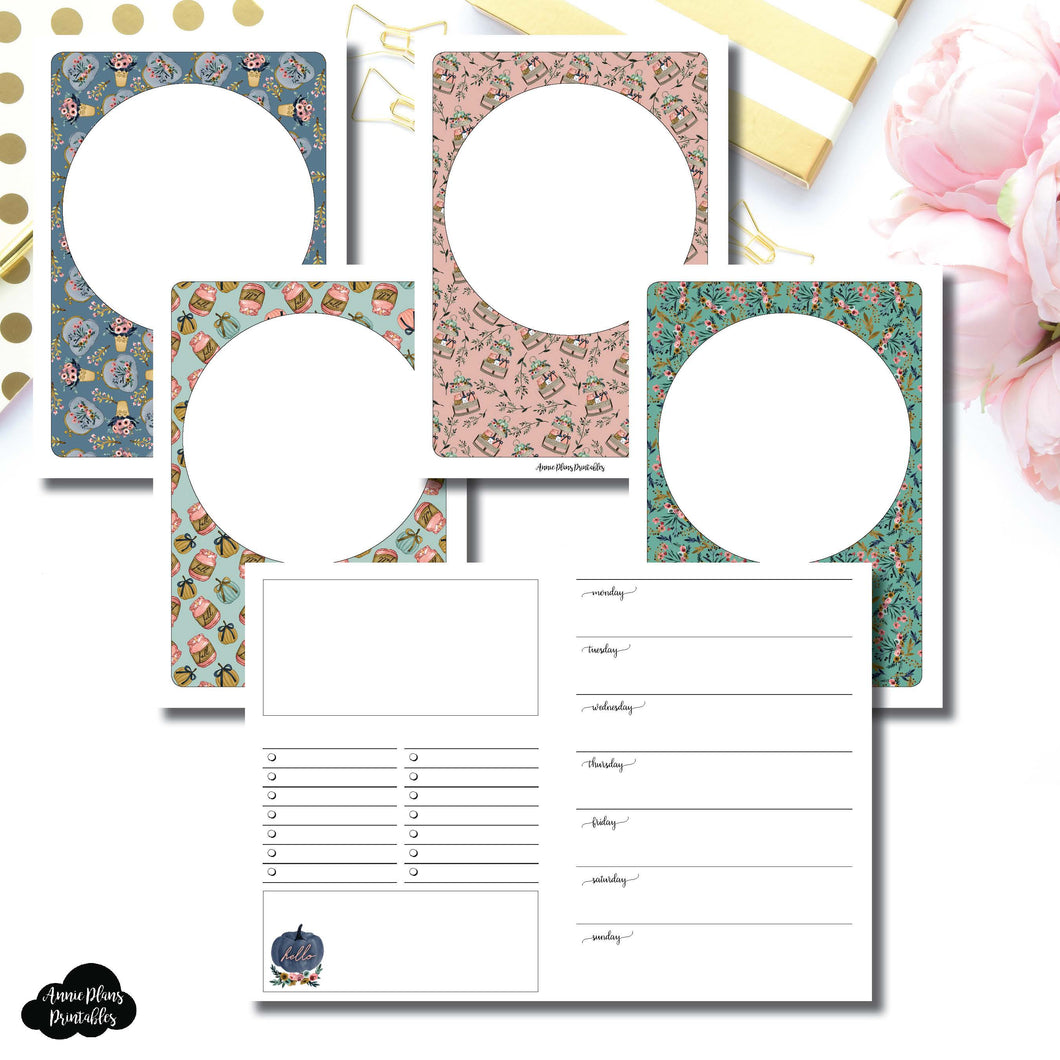 A6 TN Size | Blank Covers + Undated Week on 2 Page Collaboration Printable Insert ©