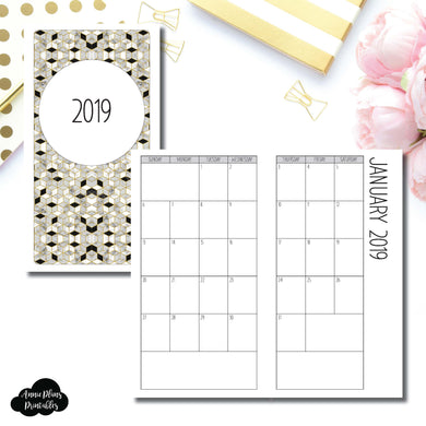 Standard TN Size | 2019 SIMPLE FONT Monthly Calendar (SUNDAY Start) PRINTABLE INSERT ©