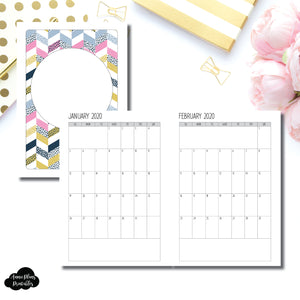 A5 Wide Rings Size | SIMPLE FONT 24 Month (JAN 2020 - DEC 2021) SINGLE PAGE Monthly Printable Insert ©