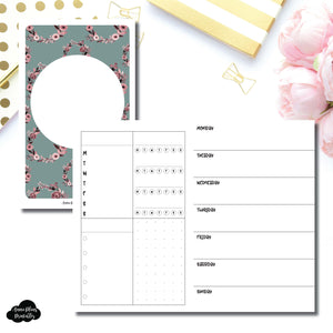 Pocket TN Size | Undated Horizontal Week on 2 Page Layout Printable Insert ©